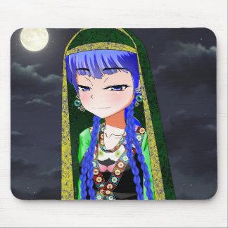 Chica del animado con el pañuelo Mousepad