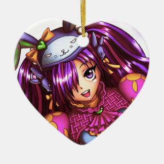 Chica del animado de la moda del japonés adorno de cerámica en forma de corazón