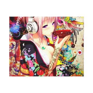 Chica del animado de la música lienzo envuelto para galerias