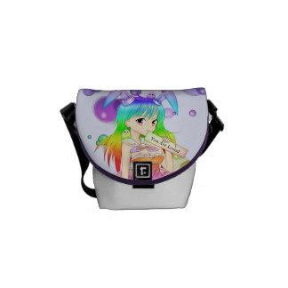 Chica del animado del conejito del arco iris bolsa de mensajeria