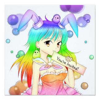 """Chica del animado del conejito del arco iris invitación 5.25"""" x 5.25"""""""