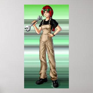 Chica del animado del mecánico póster