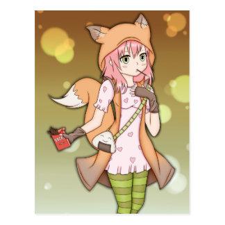 Chica del animado en Fox Cosplay Tarjetas Postales