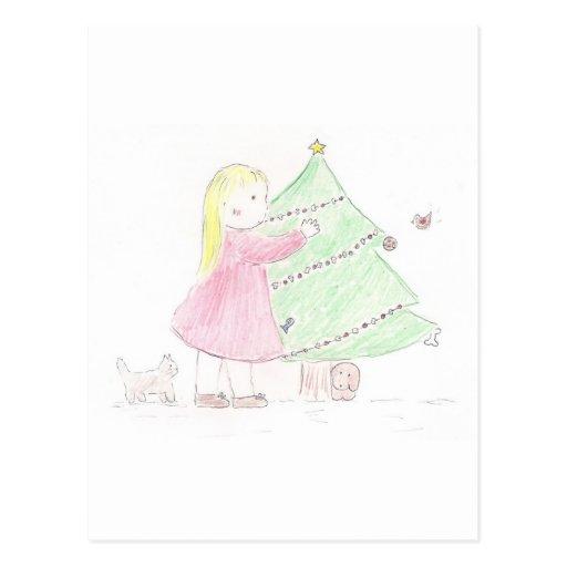 Chica del árbol de navidad postal