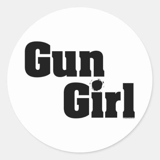 Chica del arma pegatina redonda