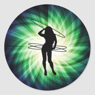 Chica del aro de Hula; Fresco Pegatina Redonda