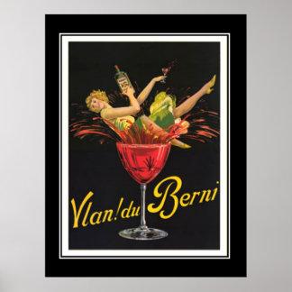 Chica del art déco en el poster de cristal del vin