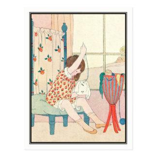 Chica del art déco que cose por H. Willebeek Le Tarjeta Postal