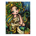 Chica del arte de la fantasía de la sirena de la c tarjeta postal