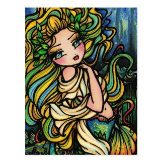 Chica del arte de la fantasía de la sirena de la postales