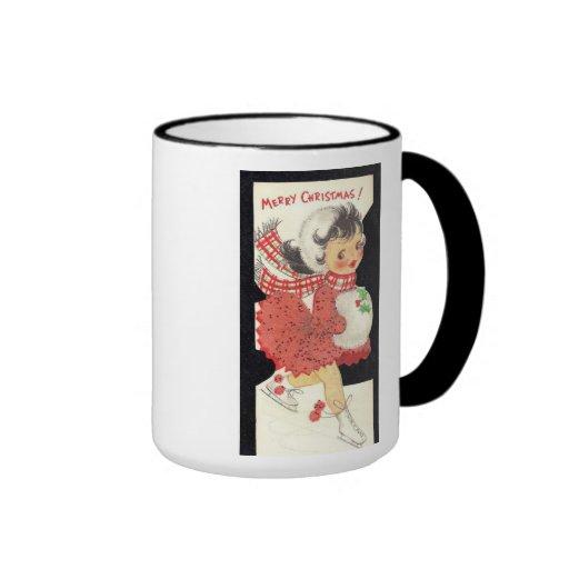 Chica del arte del navidad del vintage con el mang tazas