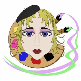 Chica del artista con los ojos azules esculturas fotográficas