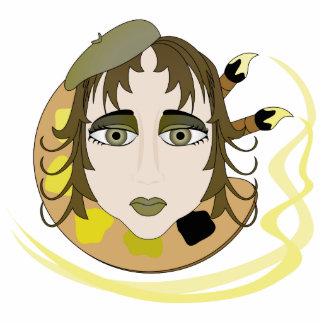 Chica del artista en amarillo escultura fotográfica