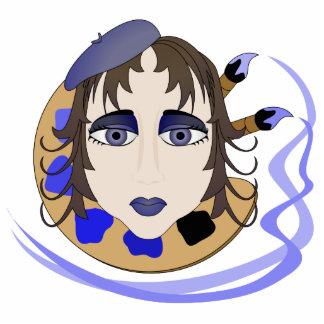 Chica del artista en azul escultura fotográfica