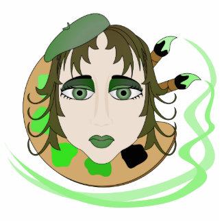 Chica del artista en verde esculturas fotograficas