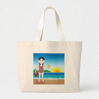 Chica del asiático de la playa bolsa tela grande