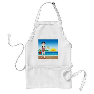 Chica del asiático de la playa delantal