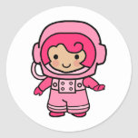 Chica del astronauta pegatina redonda