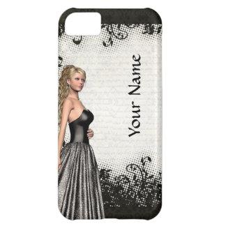 Chica del baile de fin de curso en un vestido negr carcasa iPhone 5C