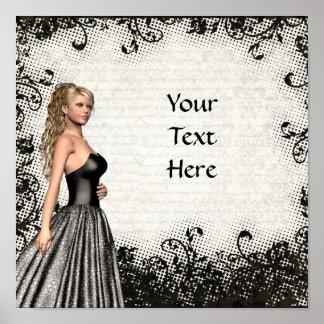 Chica del baile de fin de curso en un vestido negr póster