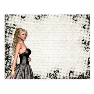 Chica del baile de fin de curso en un vestido negr postales