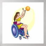 Chica del baloncesto de silla de ruedas poster