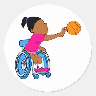 Chica del baloncesto pegatinas redondas