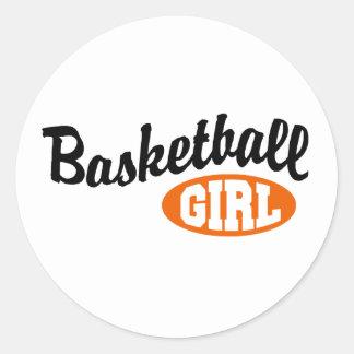 Chica del baloncesto pegatina redonda