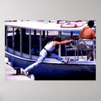 Chica del barco, Ibiza, España Poster