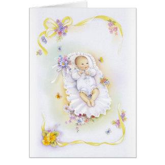 Chica del bautismo tarjeta de felicitación