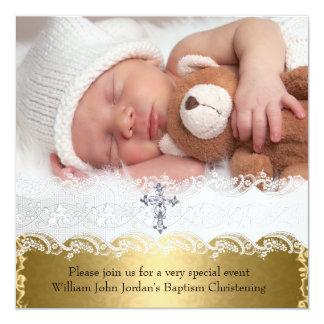 """Chica del bebé de la cruz del cordón del oro del invitación 5.25"""" x 5.25"""""""