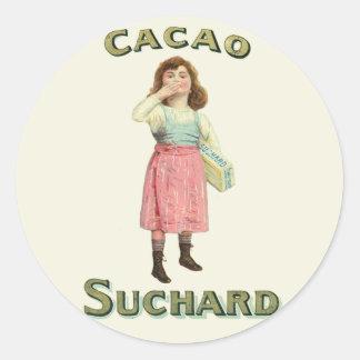Chica del beso de chocolate del vintage de Francia Etiqueta Redonda
