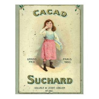 Chica del beso de chocolate del vintage de Francia Postal