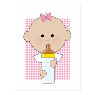 Chica del biberón tarjeta postal