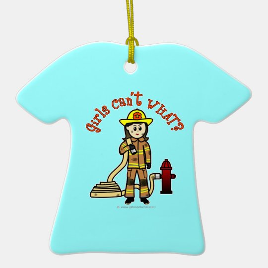 Chica del bombero adorno navideño de cerámica en forma de playera