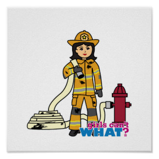 Chica del bombero - Brunette Impresiones