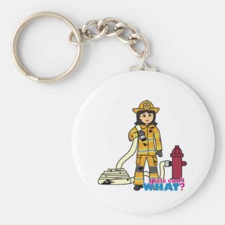 Chica del bombero - Brunette Llavero Redondo Tipo Pin