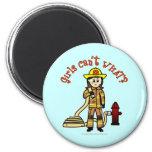 Chica del bombero imán de nevera