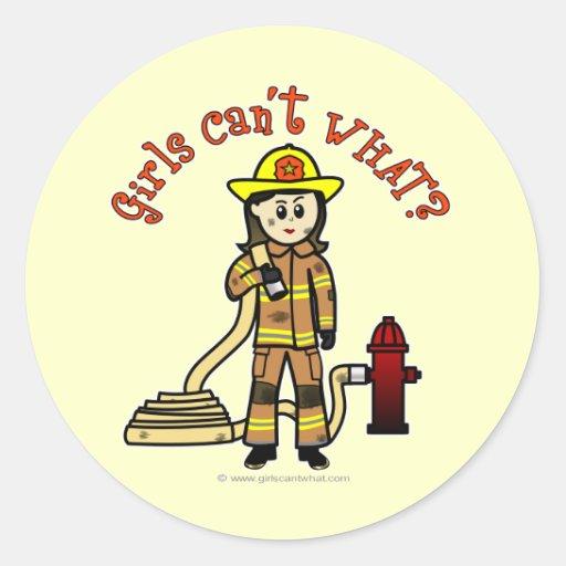 Chica del bombero pegatina redonda