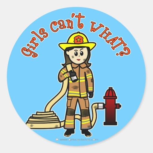 Chica del bombero pegatinas redondas