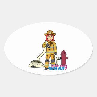 Chica del bombero - rojo pegatina ovalada
