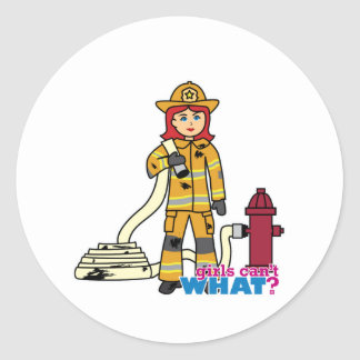 Chica del bombero - rojo pegatina redonda
