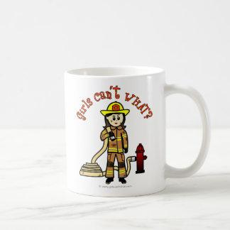 Chica del bombero taza básica blanca