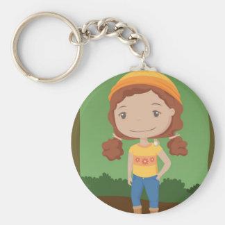 Chica del bosque llavero redondo tipo pin