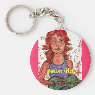 chica del busker llavero redondo tipo pin