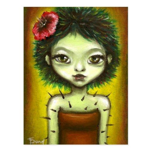 Chica del cactus postal