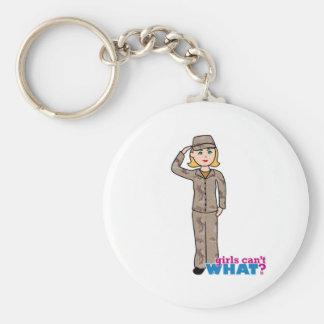 Chica del camuflaje del desierto del ejército llavero personalizado