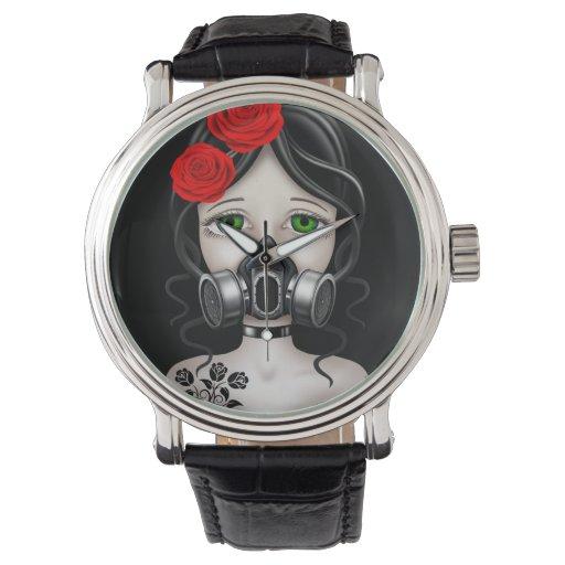 Chica del cazador del zombi con la careta antigás relojes de pulsera