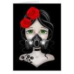 Chica del cazador del zombi con la careta antigás  felicitaciones