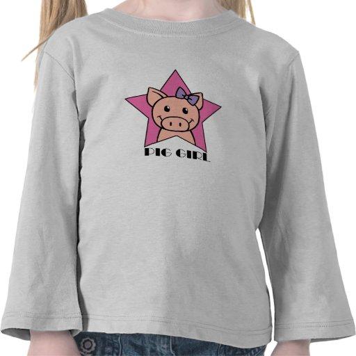 Chica del cerdo camiseta